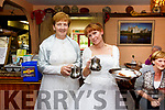 Peig Looney & Fiona Cronin held an afternoon tea and cake event to raise funds for the Irish Cancer Society and Dare to Care, pictured here in the Thatch Cottage on Friday in their wedding dresses.