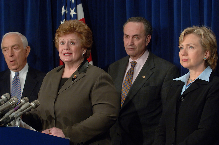 01/19/06.MEDICARE--Senators Frank R. Lautenberg, D-N.J., Debbie Stabenow, D-Mich., Charles E. Schumer, D-N.Y., and Hillary Rodham Clinton, D-N.Y., during a news conference on Medicare..CONGRESSIONAL QUARTERLY PHOTO BY SCOTT J. FERRELL
