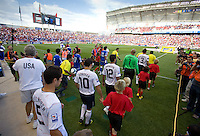USA and El Salvador players enter the field before a World Cup Qualifying match at Rio Tinto Stadium, in Sandy, Utah, Friday, September 5, 2009.  .The USA won 2-1..