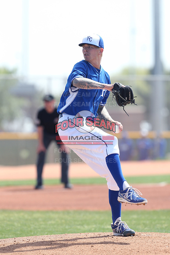 John Lamb #19 of the Kansas City Royals pitches during a Minor League Spring Training Game against the San Diego Padres at the Kansas City Royals Spring Training Complex on March 26, 2014 in Surprise, Arizona. (Larry Goren/Four Seam Images)