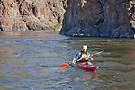 Howie Wallace paddles Necky Looksha Sport kayak in lower John Day River Canyon at RM 96.5.  Clarno to Cottonwood section.