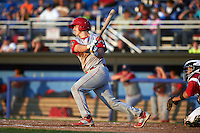 Williamsport Crosscutters catcher Austin Bossart (47) at bat during a game against the Batavia Muckdogs on July 15, 2015 at Dwyer Stadium in Batavia, New York.  Williamsport defeated Batavia 6-5.  (Mike Janes/Four Seam Images)