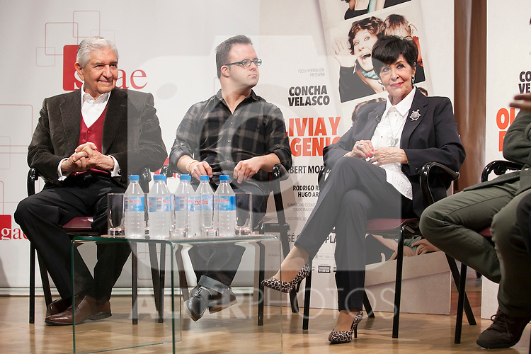 Herbert Morote, Hugo Aritmendiz and Concha Velasco during the `Olivia y Eugenio´ theater play presentation in Madrid, Spain. October 21, 2014. (ALTERPHOTOS/Victor Blanco)