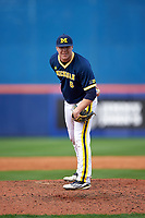 Michigan Wolverines relief pitcher Bryan Pall (6) looks in for the sign during the second game of a doubleheader against the Canisius College Golden Griffins on February 20, 2016 at Tradition Field in St. Lucie, Florida.  Michigan defeated Canisius 3-0.  (Mike Janes/Four Seam Images)