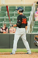 Connor Narron #38 of the Delmarva Shorebirds at bat against the Kannapolis Intimidators at CMC-Northeast Stadium on June 21, 2012 in Kannapolis, North Carolina.  The Intimidators defeated the Shorebirds 6-5 in 11 innings.  (Brian Westerholt/Four Seam Images)