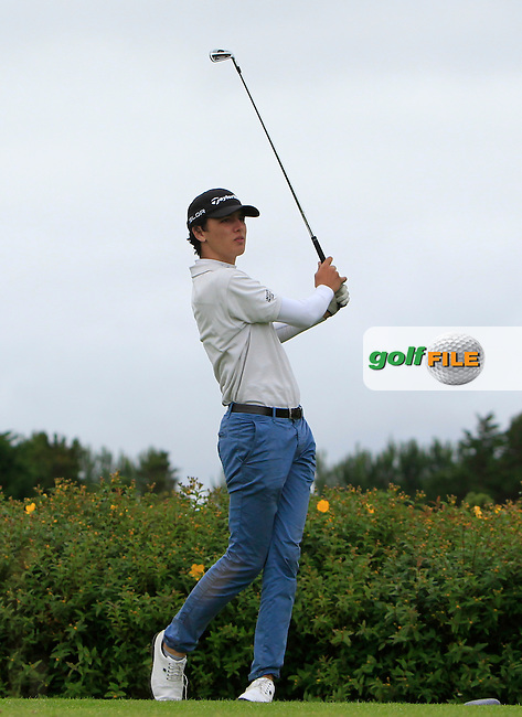 Alex Maseda (ESP) on the 18th tee during R1 of the 2016 Connacht U18 Boys Open, played at Galway Golf Club, Galway, Galway, Ireland. 05/07/2016. <br /> Picture: Thos Caffrey | Golffile<br /> <br /> All photos usage must carry mandatory copyright credit   (&copy; Golffile | Thos Caffrey)