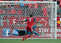 18 July 2012: Toronto FC foward/midfielder Ryan Johnson #9 misses his penalty during an MLS game between the Colorado Rapids and Toronto FC at BMO Field in Toronto..