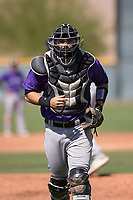 Colorado Rockies catcher Anthony Bemboom (8) during a Minor League Spring Training game against the Chicago Cubs at Sloan Park on March 27, 2018 in Mesa, Arizona. (Zachary Lucy/Four Seam Images)