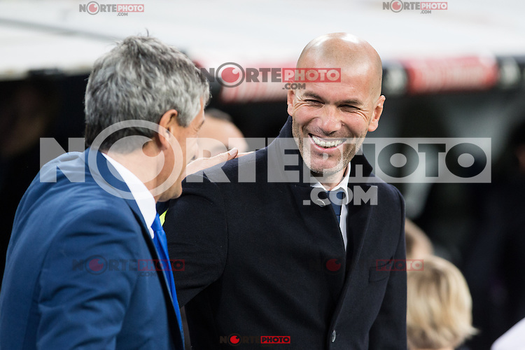 Quique Setien coach of UD Las Palmas and Zinedine Zidane coach  of Real Madrid  during the match of Spanish La Liga between Real Madrid and UD Las Palmas at  Santiago Bernabeu Stadium in Madrid, Spain. March 01, 2017. (ALTERPHOTOS / Rodrigo Jimenez) /NORTEPHOTOmex