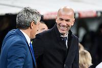 Quique Setien coach of UD Las Palmas and Zinedine Zidane coach  of Real Madrid  during the match of Spanish La Liga between Real Madrid and UD Las Palmas at  Santiago Bernabeu Stadium in Madrid, Spain. March 01, 2017. (ALTERPHOTOS / Rodrigo Jimenez) /NORTEPHOTOmex
