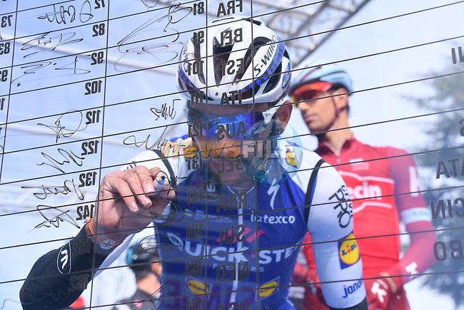 Fernando Gaviria (COL) Quick-Step Floors at sign on before the start of Stage 3 of the 2017 Tirreno Adriatico running 204km from Monterotondo Marittimo to Montalto di Castro, Italy. 10th March 2017.<br /> Picture: La Presse/Gian Mattia D'Alberto | Cyclefile<br /> <br /> <br /> All photos usage must carry mandatory copyright credit (&copy; Cyclefile | La Presse)