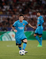 Calcio, Champions League, Gruppo E: Roma vs Barcellona. Roma, stadio Olimpico, 16 settembre 2015.<br /> FC Barcelona&rsquo;s Lionel Messi in action during a Champions League, Group E football match between Roma and FC Barcelona, at Rome's Olympic stadium, 16 September 2015.<br /> UPDATE IMAGES PRESS/Isabella Bonotto<br /> <br /> *** ITALY AND GERMANY OUT ***
