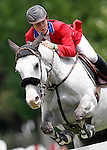 France's jockey Michael Legout with the horse Quartz de Malaisie during 102 International Show Jumping Horse Riding, King's College Trophy. May, 20, 2012. (ALTERPHOTOS/Acero)