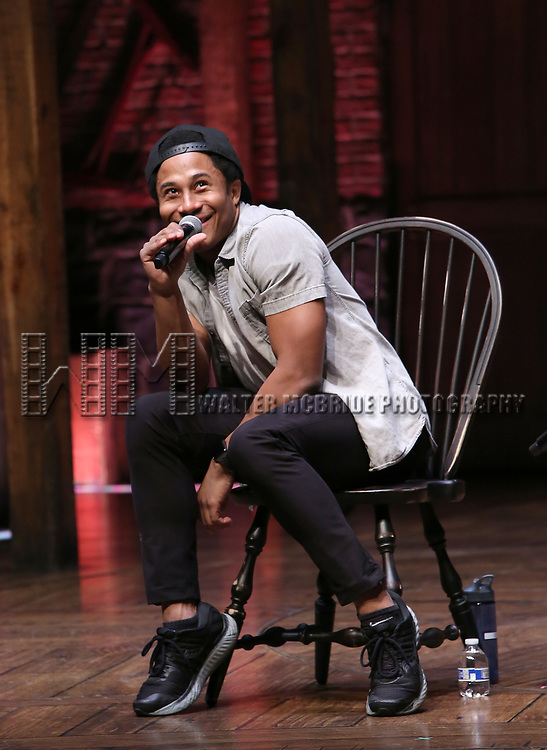 """Daniel Yearwood during the Q & A before The Rockefeller Foundation and The Gilder Lehrman Institute of American History sponsored High School student #eduHAM matinee performance of """"Hamilton"""" at the Richard Rodgers Theatre on 3/12/2020 in New York City."""