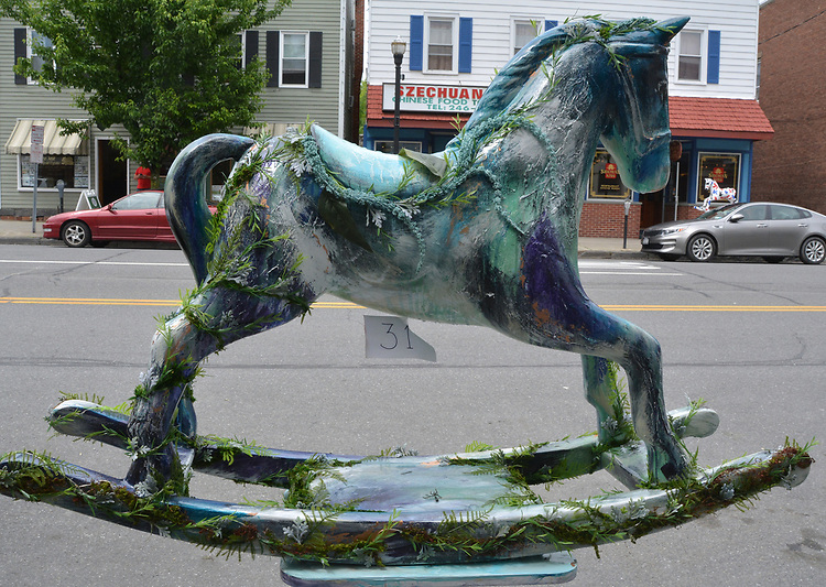 "A view of, ""Midsummer Night's Dream"" by artists, Justin Otis & Jessica Camereti, one of the 35 Artist painted Rocking Horses on display around Saugerties, NY as part of the Chamber of Commerce sponsored Art in the Village Project titled ""Rockin' Around Saugerties."" This photo taken on Friday, May 26, 2017. Photo by Jim Peppler. Copyright/Jim Peppler-2017."