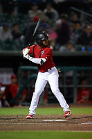 Inland Empire 66ers right fielder DJ Jenkins (2) at bat during a California League game against the Lancaster JetHawks at San Manuel Stadium on May 18, 2018 in San Bernardino, California. Lancaster defeated Inland Empire 5-3. (Zachary Lucy/Four Seam Images)