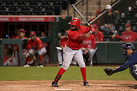 Los Angeles Angels outfielder Eric Young Jr (98) during a Minor League Spring Training game against the Milwaukee Brewers at Tempe Diablo Stadium on March 29, 2018 in Tempe, Arizona. (Zachary Lucy/Four Seam Images)