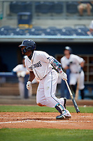 Charlotte Stone Crabs Moises Gomez (21) bats during a Florida State League game against the Palm Beach Cardinals on April 14, 2019 at Charlotte Sports Park in Port Charlotte, Florida.  Palm Beach defeated Charlotte 5-3.  (Mike Janes/Four Seam Images)