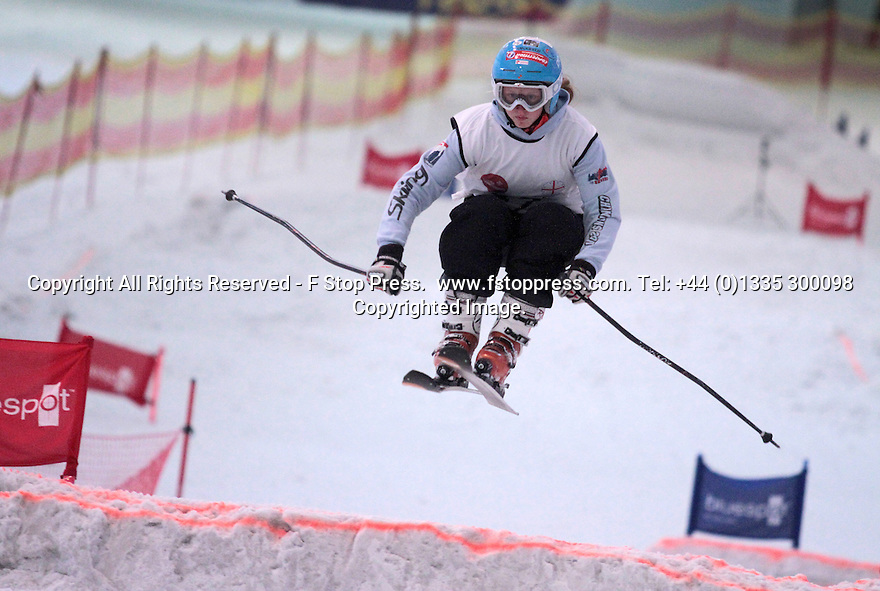 23/06/13 <br /> <br /> Isobel Brown in action at England's first ever English Ski and Boarder Cross Championship at Manchester's indoor ski slope in The Chill Factor.<br /> <br /> Three local Sisters have been scooping up more medals as they continue to ski their way to success.<br /> <br /> Last Sunday (June 23) the, Rossignol sponsored, young athletes took on the country's best skiers at the first ever English Ski-Cross in Manchester with Isobel, 13, and Elektra, 9, coming away with gold and silver medals at the indoor contest held at The Chill Factore. Isobel, 13, won the Girls Youth class and Elektra, 9, came second in the Female Kids class.<br /> <br /> In May this year, Isobel also won silver at the first ever Moguls competition held at the same venue.<br /> <br /> The girls, from Ellastone, near Ashbourne, spent last winter training in The Alps with the French team they race for. <br /> <br /> Competing for their school's ski team, the Abbotsholme School trio, including Jemima, 11, won Bronze for at the Aiglon College Cup - an international inter-school competition held in Switzerland - only being beaten by two Swiss schools.<br /> <br /> There are more indoor competitions planned, but with the days getting shorter the girls are looking forward to heading out to the Alps again as soon as the snow falls this winter.<br /> <br /> All Rights Reserved - F Stop Press.  www.fstoppress.com. Tel: +44 (0)1335 300098<br /> Copyrighted Image.