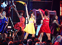 "Camila Cabello, center, performs ""Havana"" at the 61st annual Grammy Awards on Sunday, Feb. 10, 2019, in Los Angeles. (Photo by Matt Sayles/Invision/AP)"