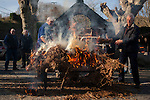 A dead pig being burnt to remove the hair in traditional way pig slaughtering.  Doneztebe (Basque Country). December 08. 2016. The slaughter traditionally takes place in the autum and early winter and the work often is done in the open. (Gari Garaialde / Bostok Photo)