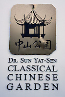 Dr. Sun Yat-Sen Classical Garden sign, Chinatown, Vancouver, British Columbia, Canada