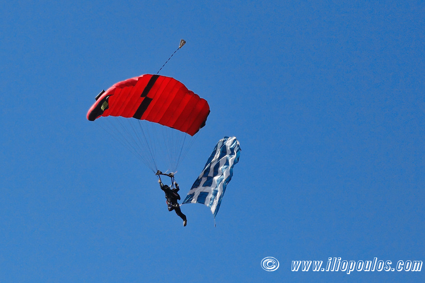 Parachutists performance during Air Show in Athens, Greece