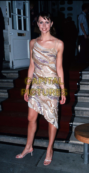 BEVERLEY TURNER..FHM Party  ..Ref: 10870..same dress worn by lucy clarkson and lisa butcher, stripes,  ..full length, full-length..www.capitalpictures.com..sales@capitalpictures.com..©Capital Pictures..