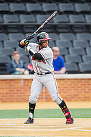 Kevin Martir (32) of the Maryland Terrapins at bat against the Wake Forest Demon Deacons at Wake Forest Baseball Park on April 4, 2014 in Winston-Salem, North Carolina.  The Demon Deacons defeated the Terrapins 6-4.  (Brian Westerholt/Four Seam Images)