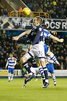 Jed Wallace of Millwall contests a header during the Sky Bet Championship match between Millwall and Queens Park Rangers at The Den, London, England on 29 December 2017. Photo by Carlton Myrie / PRiME Media Images.