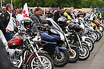 LONDON, ENGLAND, 22 May ,2014.  Bikers arrive at Woolwich Barracks to mark the first anniversary of the murder of Fusilier Lee Rigby  near his Woolwich barracks.