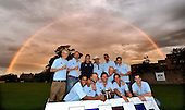 A symbolic Rainbow bathed Grange Loan moments after Fraser Watts (front centre) - Scottish International player and Capt of Carlton CC - and his squad were presented with the Scottish National Cricket League Premiership Trophy - when it was confirmed that his side were 2011 Premiership Champions late on Saturday night when results went their way with one game of the season to go - Picture by Donald MacLeod - 27.08.11 - 07702 319 738 - www.donald-macleod.com