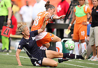 Rebecca Moros #19 of Washington Freedom crahes into Julianne Sitch #38 of Sky Blue FC during a WPS match at RFK Stadium on May 23, 2009 in Washington D.C. Freedom won the match 2-1