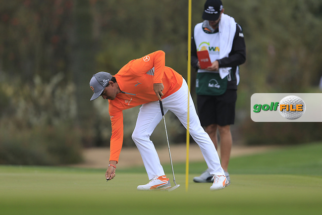 Rickie Fowler (USA) on the 2nd fairway during the final round of the Waste Management Phoenix Open, TPC Scottsdale, Scottsdale, Arisona, USA. 03/02/2019.<br /> Picture Fran Caffrey / Golffile.ie<br /> <br /> All photo usage must carry mandatory copyright credit (&copy; Golffile | Fran Caffrey)