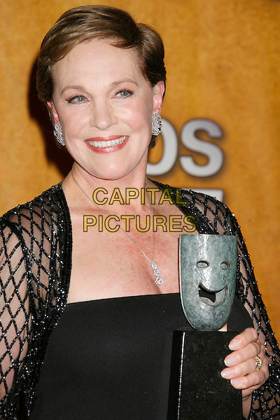 "JULIE ANDREWS.recipient of the ""Life Achievement Award"".13th Annual Screen Actors Guild (SAG) Awards held at the Shrine Auditorium - pressroom,  Los Angeles, California, USA, 28 January 2007..press room half length trophy award.CAP/ADM/RE.©Russ Elliot/AdMedia/Capital Pictures."