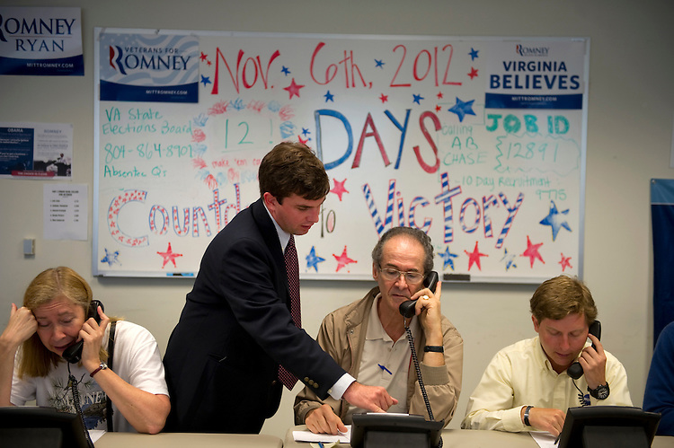 UNITED STATES - OCTOBER 25: Volunteers make phone calls at a Romney campaign office in Arlington, Virginia. With 13 days until Election Day, the presidential campaign remains a very tight race. (Photo by Chris Maddaloni/CQ Roll Call)