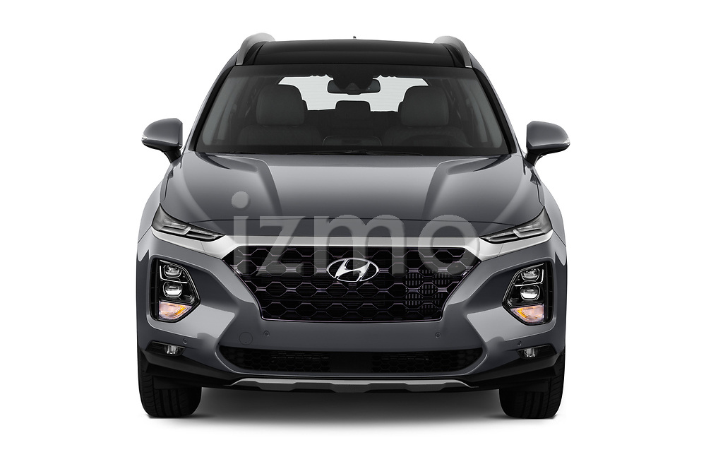 Car photography straight front view of a 2019 Hyundai Santa FE Shine 5 Door SUV