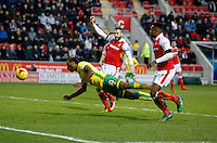 Rotherham v Norwich 14.1.17 ... Norwich's Cameron Jerome head his sides equaliser