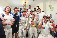 Picture by Alex Whitehead/SWpix.com - 12/09/2014 - Cricket - LV County Championship Div One - Nottinghamshire CCC v Yorkshire CCC, Day 4 - Trent Bridge, Nottingham, England - Yorkshire celebrate with the  County Championship Division One trophy in the dressing room.