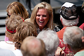 "Ann Romney greets supporters of her husband, republican presidential candidate, Mitt Romney in Newark Ohio. Republican presidential candidate Mitt Romney takes his campaign on the road with his ""Every Town Counts"" bus tour."