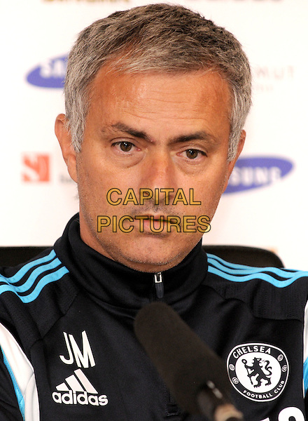 Jose Mourinho at a Media Conference to preview Everton v Chelsea FC at Chelsea FC Training Ground, Stoke D'Abernon, Surrey on 29th August 2014<br /> CAP/BK/PP<br /> &copy;Bob Kent/PP/Capital Pictures