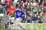 David O'Callaghan Kerry in action against Lee Keegan Mayo in the National Football League in Austin Stack Park on Sunday..