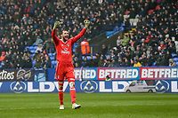 Fulham's goalkeeper Marcus Bettinelli celebrates his side taking a 1-0 lead<br /> <br /> Photographer Andrew Kearns/CameraSport<br /> <br /> The EFL Sky Bet Championship - Bolton Wanderers v Fulham - Saturday 10th February 2018 - Macron Stadium - Bolton<br /> <br /> World Copyright &copy; 2018 CameraSport. All rights reserved. 43 Linden Ave. Countesthorpe. Leicester. England. LE8 5PG - Tel: +44 (0) 116 277 4147 - admin@camerasport.com - www.camerasport.com