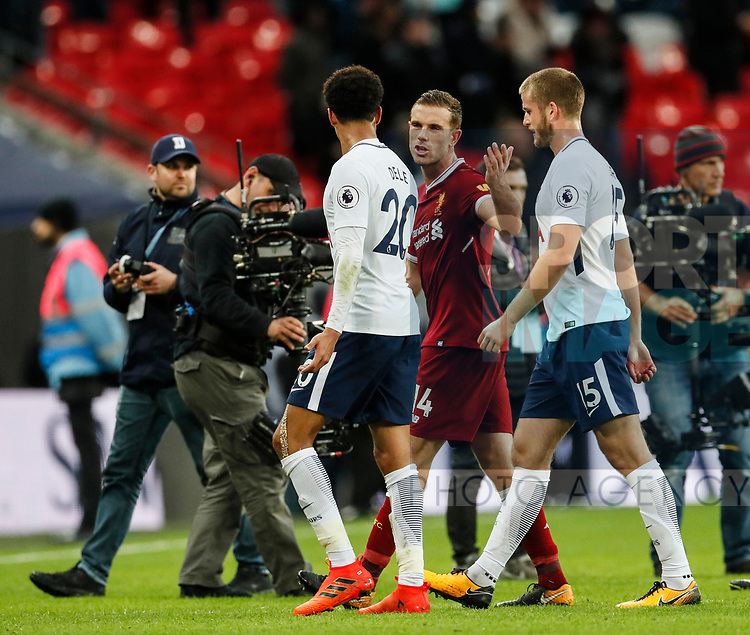 Tottenham's Dele Alli argues with Liverpool's Jordan Henderson during the premier league match at Wembley Stadium, London. Picture date 22nd October 2017. Picture credit should read: David Klein/Sportimage