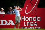 CHON BURI, THAILAND - FEBRUARY 16:  Ai Miyazato of Japan tees off on the 17th hole during day one of the LPGA Thailand at Siam Country Club on February 16, 2012 in Chon Buri, Thailand.  Photo by Victor Fraile / The Power of Sport Images