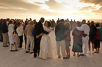 Love at Lovers Key. Thirty-two couples take part in first annual Renewal of Vows at Lovers Key State Park, Fort Myers Beach, Florida. Lauren and Paul Tjaden from Orlando renewed their vow. Lauren wore her wedding dress from 25 years ago  Photo by Debi Pittman Wilkey