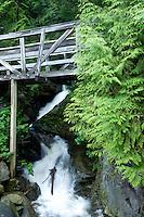 Fast flowing stream under pedestrian bridge. Deep Cove,Vancouver, British Columbia, Canada.