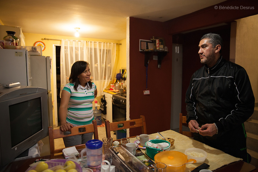 Donovan and his wife at their home in Texcoco, Mexico on February 1, 2016.<br /> Donovan Tavera, 43, is the director of &ldquo;Limpieza Forense M&eacute;xico&rdquo;, the country&rsquo;s first and so far the only government-accredited forensic cleaning company. Since 2000, Tavera, a self-taught forensic technician, and his family have offered services to clean up homicides, unattended death, suicides, the homes of compulsive hoarders and houses destroyed by fire or flooding. Despite rising violence that has left 70,000 people dead and 23,000 disappeared since 2006, Mexico has only one certified forensic cleaner. As a consequence, the biological hazards associated with crime scenes are going unchecked all around the country. Photo by B&eacute;n&eacute;dicte Desrus