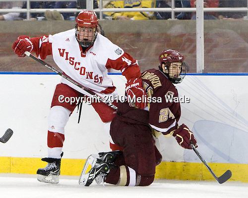 Jake Gardiner (Wisconsin - 19), Matt Lombardi (BC - 24) - The Boston College Eagles defeated the University of Wisconsin Badgers 5-0 to win the NCAA Division 1 national championship at the 2010 Frozen Four on Saturday, April 10, 2010, at Ford Field in Detroit, Michigan.