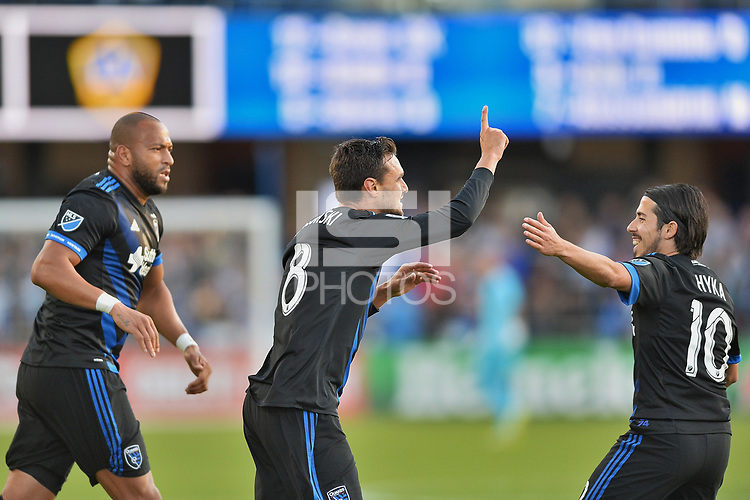 San Jose, CA - Saturday May 27, 2017: Chris Wondolowski, Jahmir Hyka during a Major League Soccer (MLS) match between the San Jose Earthquakes and the Los Angeles Galaxy at Avaya Stadium.